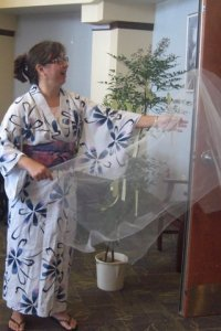 """Tossing mist during a """"Tanabata"""" Star Festival storytelling"""