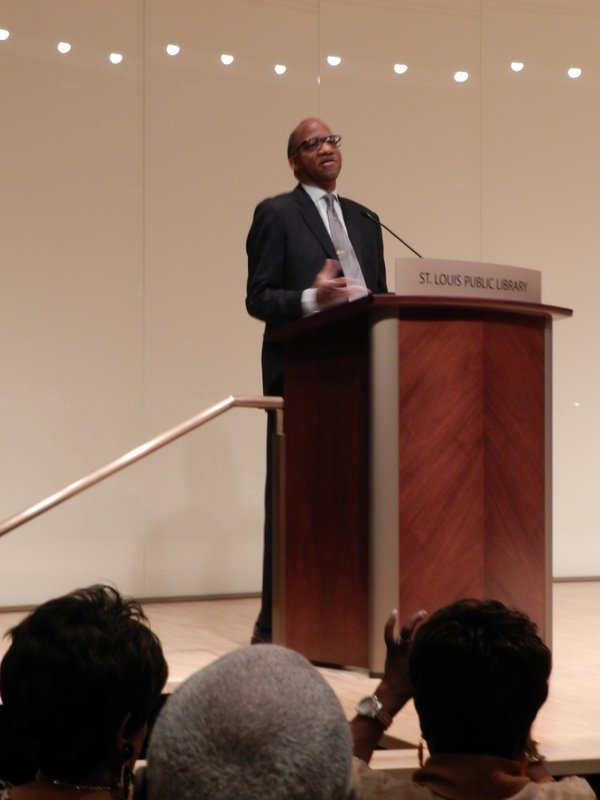 Wil Haygood wearing a tie clip given to him by Eugene Allen, given to him by John F. Kennedy.